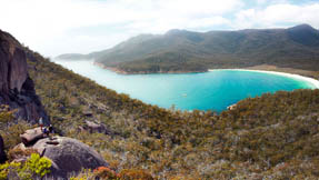 A view of fabulous Wineglass Bay from a walking trail