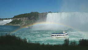 A rainbow formed by the spray of Niagara Falls