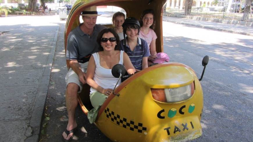 family in a taxi cab