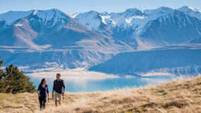 Two intrepid adventurers traversing the South Island landscape